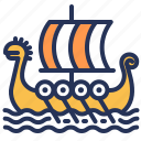 longship, norway, ship, viking icon
