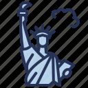 statue, landmark, liberty, usa