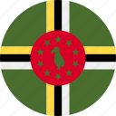 ball, country, dominica, flag, grenade icon