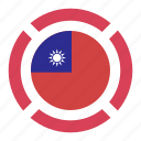 country, flag, location, nation, navigation, pin, the republic of china icon