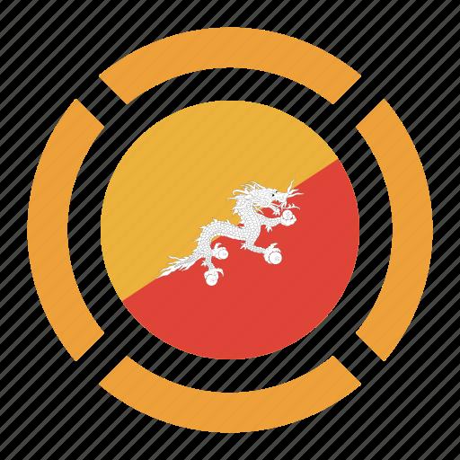bhutan, country, flag, location, nation, navigation, pin icon