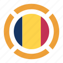 chad, country, flag, location, nation, navigation, pin icon