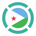 country, djibouti, flag, location, nation, navigation, pin icon