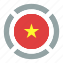 country, flag, location, nation, navigation, pin, vietnam icon