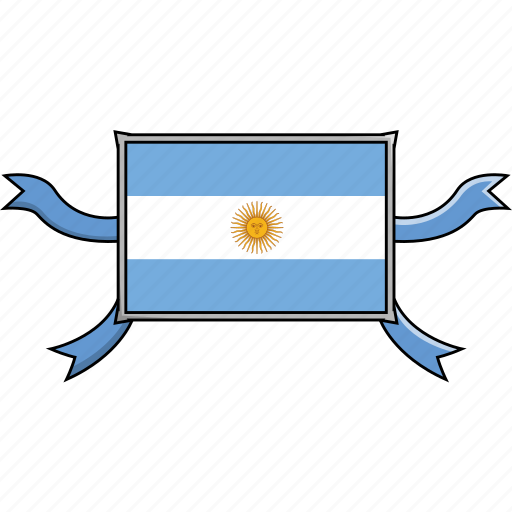 argentina, country, flags, ribbon, shield, world icon