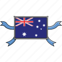 australia, country, flags, ribbon, shield, world icon