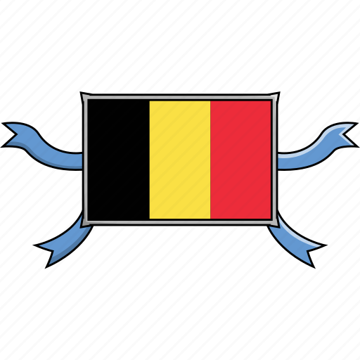Belgium, country, flags, ribbon, shield, world icon - Download on Iconfinder