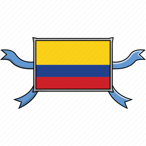 colombia, country, flags, ribbon, shield, world icon