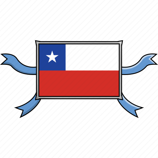 chile, country, flags, ribbon, shield, world icon