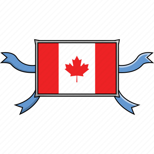 canada, country, flags, ribbon, shield, world icon