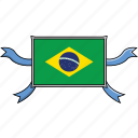 brazil, country, flags, ribbon, shield, world icon