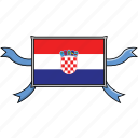 country, croatia, flags, ribbon, shield, world icon