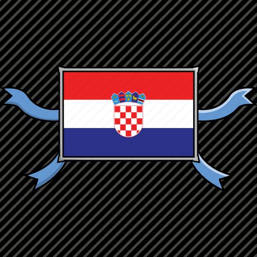 Shield, country, croatia, world, flags, ribbon icon