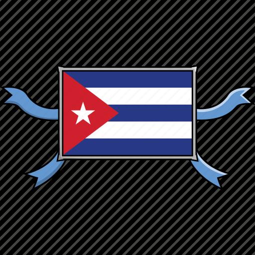 country, cuba, flags, ribbon, shield, world icon