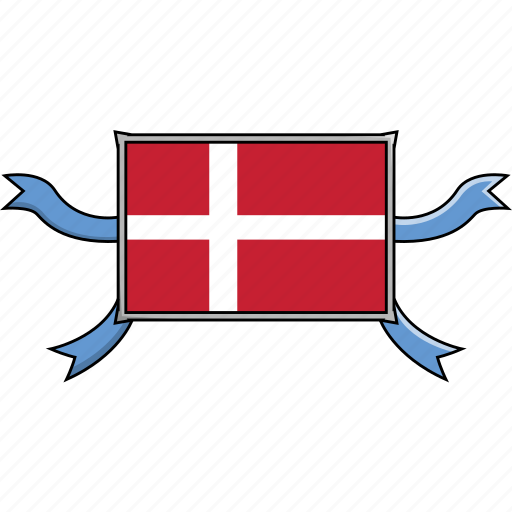 Country, denmark, flags, ribbon, shield, world icon - Download on Iconfinder