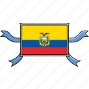 country, ecuador, flags, ribbon, shield, world icon