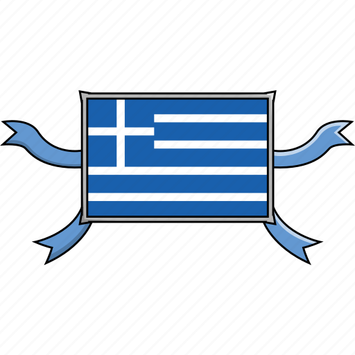 country, flags, greece, ribbon, shield, world icon