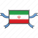 country, flags, iran, ribbon, shield, world icon