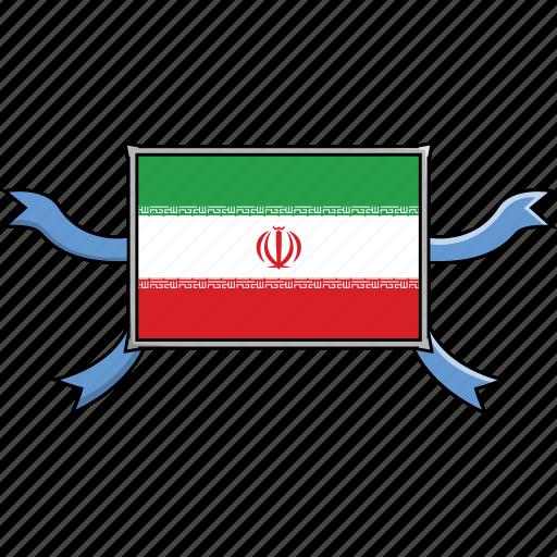 country, flags, iran, ribbon, shield, world icon