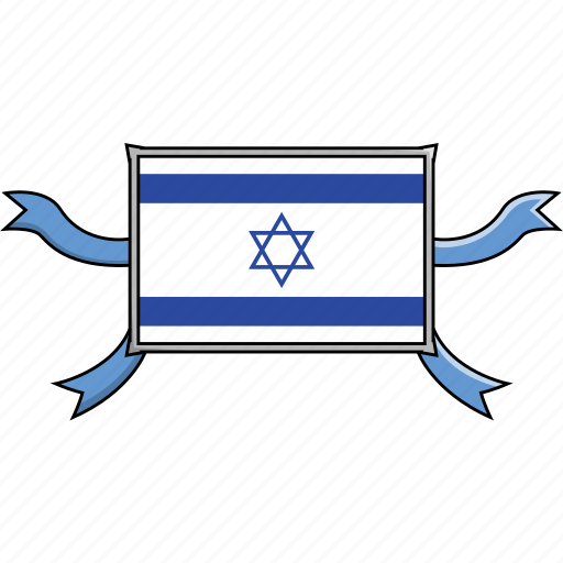 Israel, shield, country, flags, world, ribbon icon