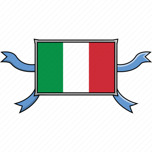Italy, shield, country, flags, world, ribbon icon