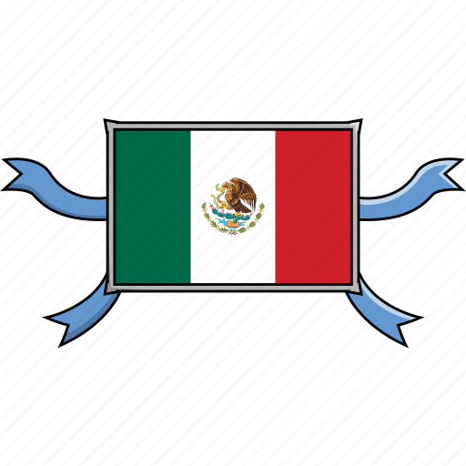 country, flags, mexico, ribbon, shield, world icon