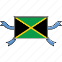 country, flags, jamaica, ribbon, shield, world icon