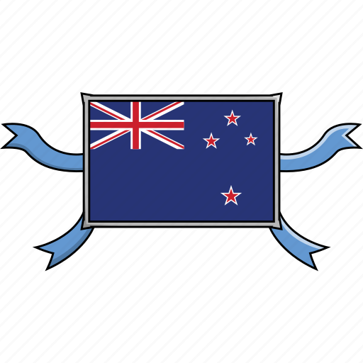 country, flags, new, ribbon, shield, world, zealand icon