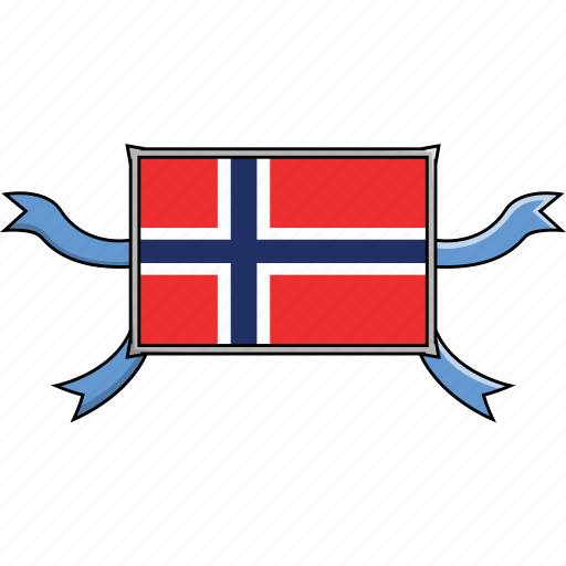 country, flags, norway, ribbon, shield, world icon