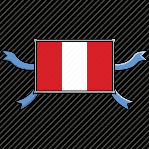 country, flags, peru, ribbon, shield, world icon