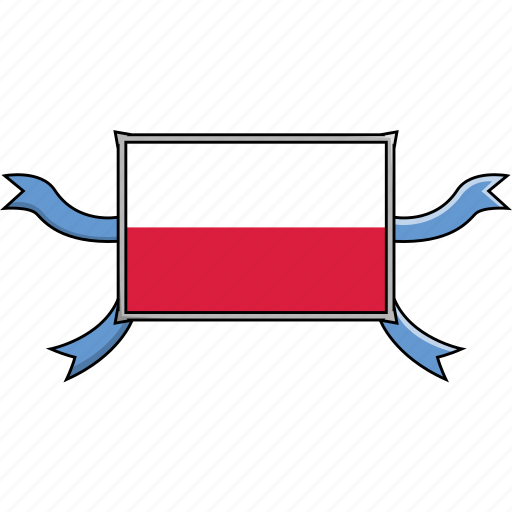 country, flags, poland, ribbon, shield, world icon
