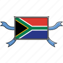 shield, country, africa, flags, south, world, ribbon
