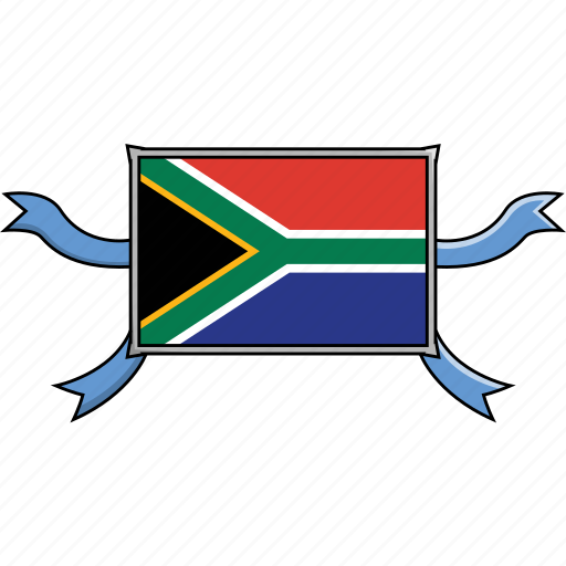 africa, country, flags, ribbon, shield, south, world icon