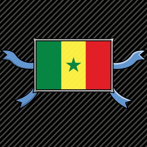 country, flags, ribbon, senegal, shield, world icon