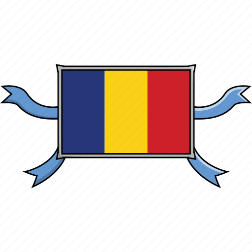 country, flags, ribbon, romania, shield, world icon