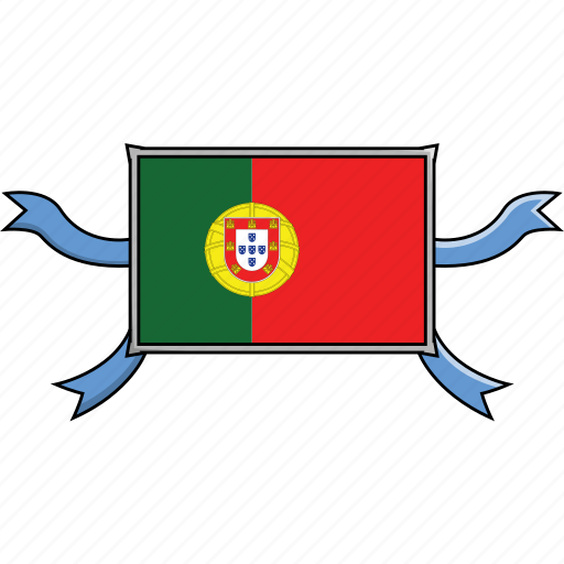 country, flags, portugal, ribbon, shield, world icon