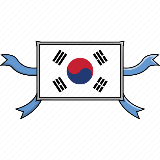 country, flags, korea, ribbon, shield, south, world icon