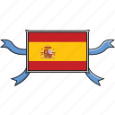 country, flags, ribbon, shield, spain, world icon