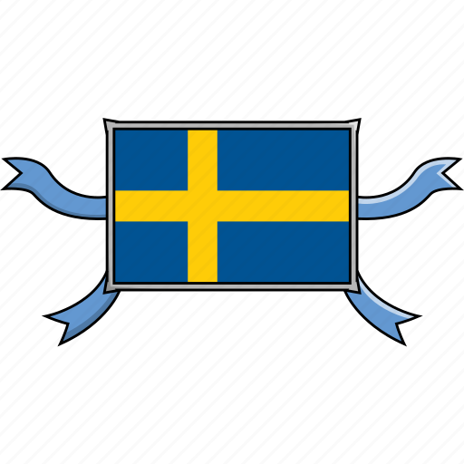 Shield, country, sweden, flags, world, ribbon icon