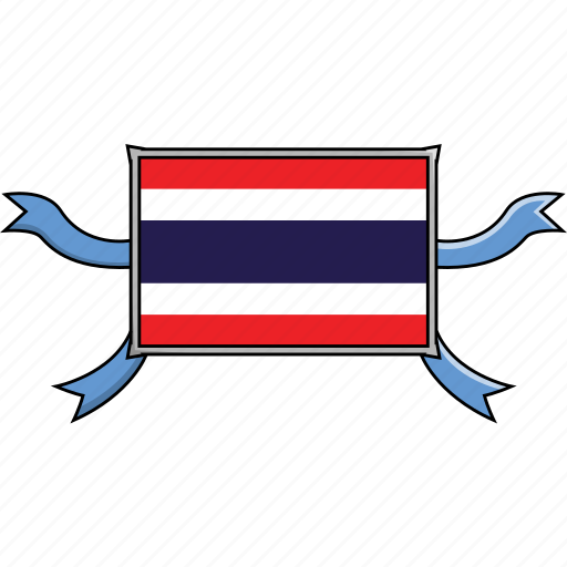 Shield, country, flags, thailand, world, ribbon icon