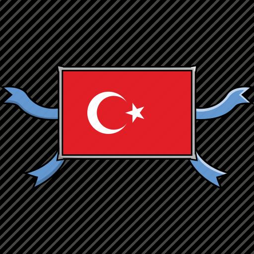 country, flags, ribbon, shield, turkey, world icon