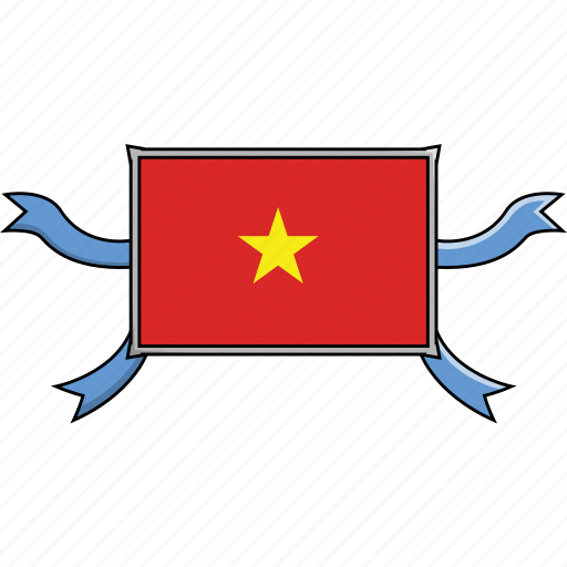 country, flags, ribbon, shield, vietnam, world icon