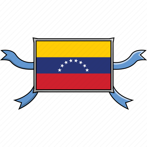 country, flags, ribbon, shield, venezuela, world icon