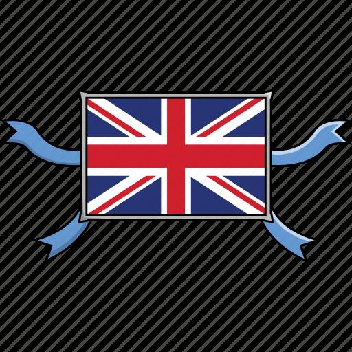 Kingdom, united, shield, country, flags, world, ribbon icon