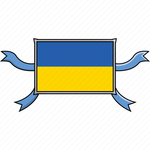 country, flags, ribbon, shield, ukraine, world icon