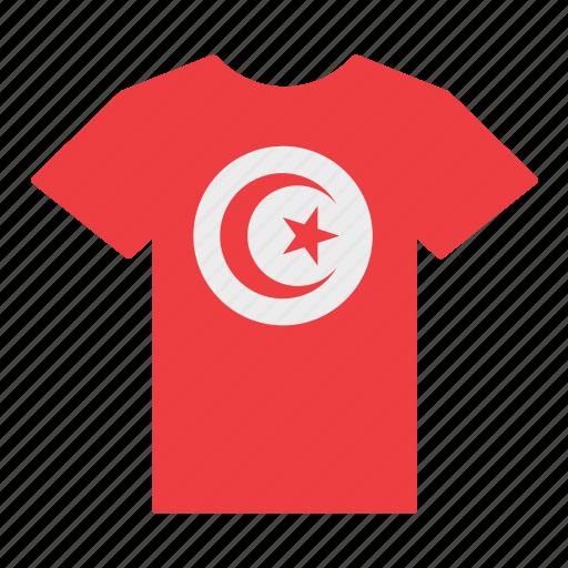 country, flag, jersey, shirt, t-shirt, tunisia, tunisian icon