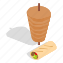 dinner, doner, isometric, kebab, meal, shawarma, turkey icon