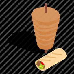 dinner, doner, isometric, kebab, meal, shawarma, turkey icon