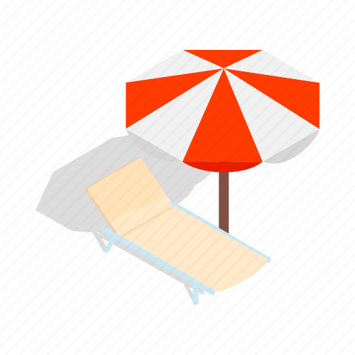 beach, isometric, lounge, relaxation, summer, travel, umbrella icon