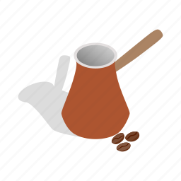 bean, cezve, coffee, isometric, pot, turkey, turkish icon